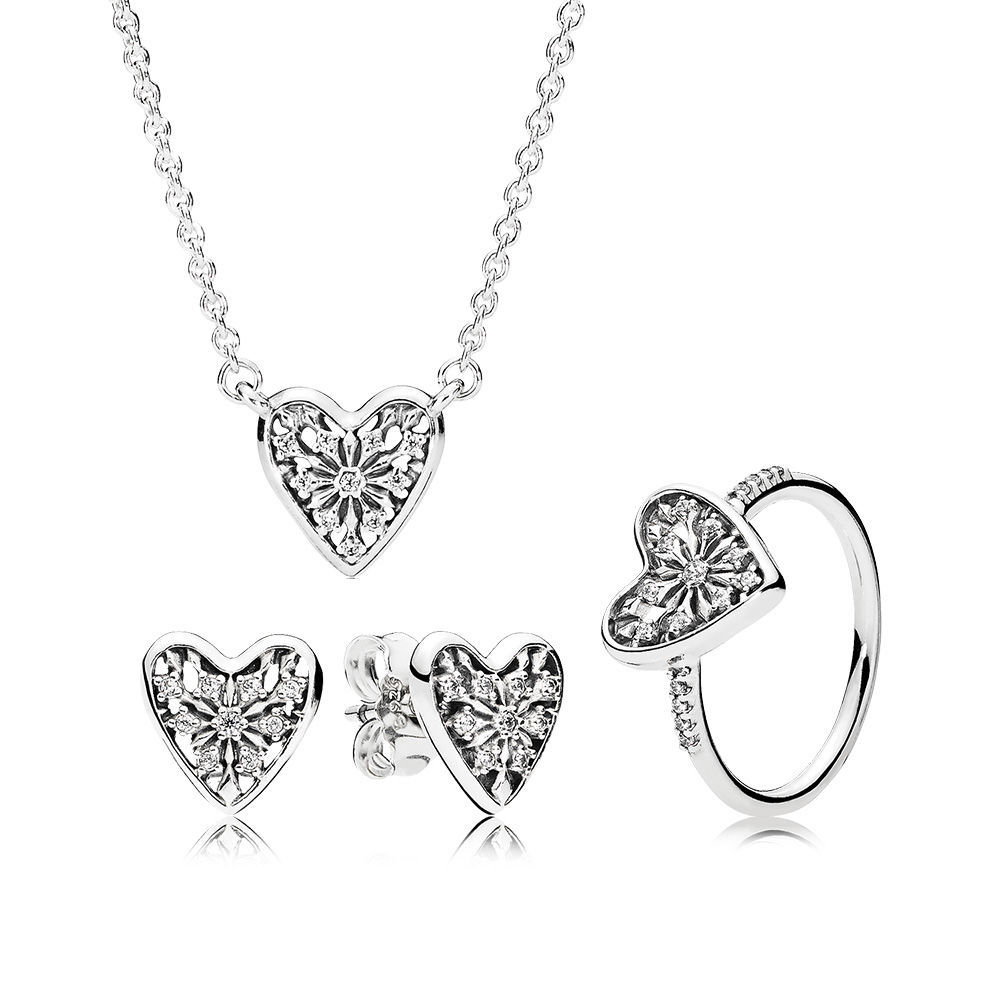 925 Sterling Silver Necklaces for Women Heart of Winter Jewelry Set Pendant Girl Fashion Choker Chain fit Lady Jewelry925 Sterling Silver Necklaces for Women Heart of Winter Jewelry Set Pendant Girl Fashion Choker Chain fit Lady Jewelry