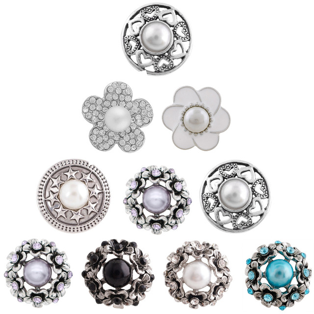 2ee57e399f US $2.08 10% OFF|5pcs/set snap jewelry Flower Rhinestones Buttons Pearl  button wedding decoration for Women Diy Alloy 18mm snap bracelet  necklace-in ...