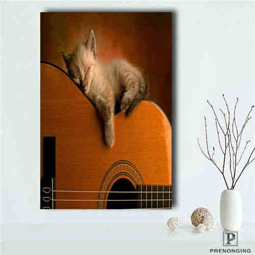 Engraçados feitos sob encomenda-Little-Cat-Dormir (1) cópia do cartaz do Tecido Pano de Tecido de Seda De Impressão Parede Poster Room Decor Poster #181018-03-54
