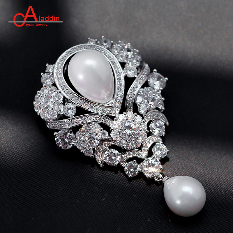 Attractive Aladdin Luxurious Cubic Zirconia Brooches Metal Alloy Trendy Plant Pearl  Brooch Big Pins Silver Plated Hyperbole Ethnic Gift In Brooches From Jewelry  ...