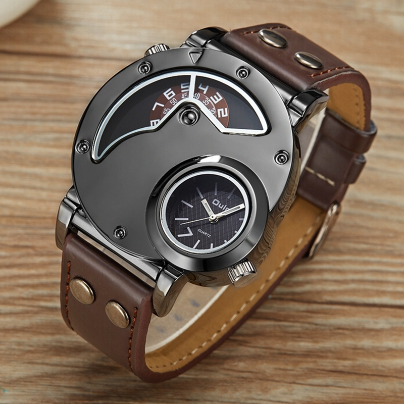 Oulm Unique Double Time Zone Sports Quartz Watch Male Clock Casual PU Leather Military Wristwatch Men's Watches reloj hombre oulm mesh mens watches top brand luxury multiple time zone men s watch male quartz outdoor sports wristwatch reloj hombre