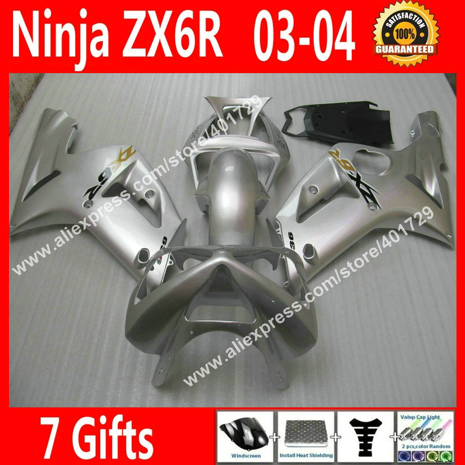 Brand new Fairings for motercycle Kawasaki Ninja ZX-6R 636 2003 2004 ZX 6R ZX6R 03 04 new silvery white fairing part HE63