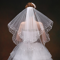 New 2019 Wedding Accessories A Bridal Veil Two Layer White Bridal Veil cut Edge Wedding Veil Short Veil