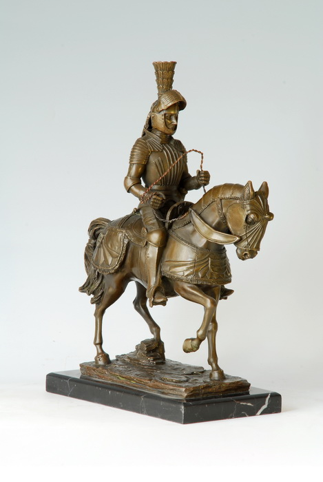 Arts Crafts Copper Bronze Sculpture Knight statue with natural marble base souvenirs home decoration Western Europe charactersArts Crafts Copper Bronze Sculpture Knight statue with natural marble base souvenirs home decoration Western Europe characters