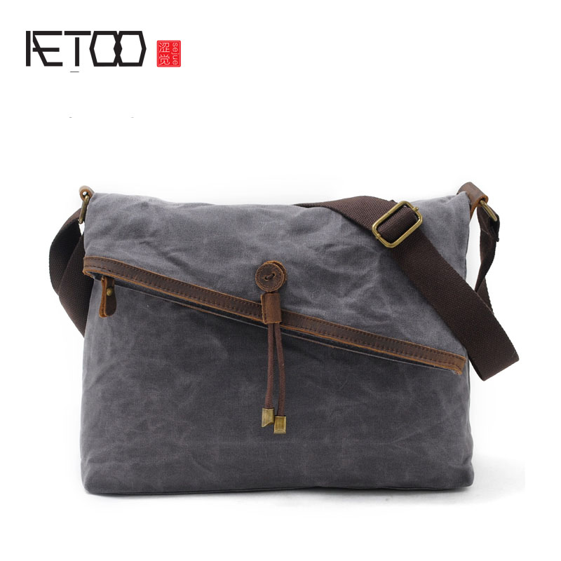 AETOO Canvas bag art retro boy bag college wind batik cloth shoulder bag with leather Messenger bag casio ef 500d 1a