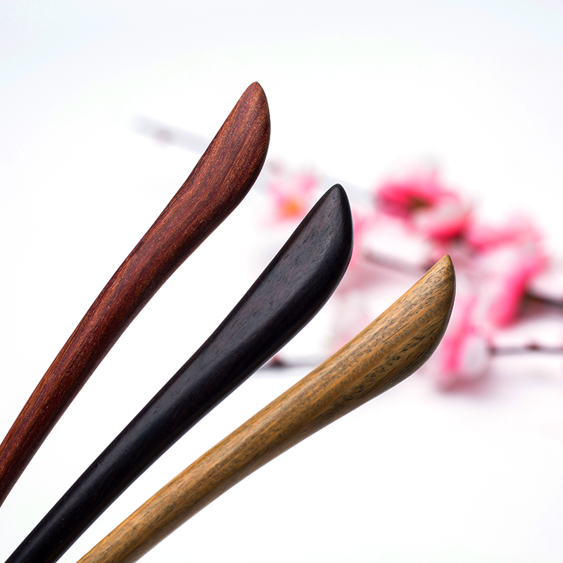 Handmade Natural Sandalwood Past month shape  Luxurious Hair stick Hairpin Headwear Women jewelry Gift for Ethnic women