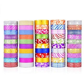 50 pcs/set washi tape Glitter masking Kawaii washitape cinta adhesiva decorativa cute stickers scrapbooking stationer