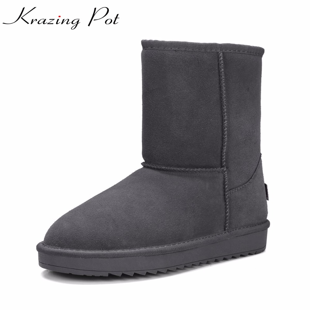 Krazing Pot cow suede snow boots for women flat with keep warm basic classics slip on wholesale nude winter mid-calf boots L25 sweet women s mid calf boots with slip on and suede design