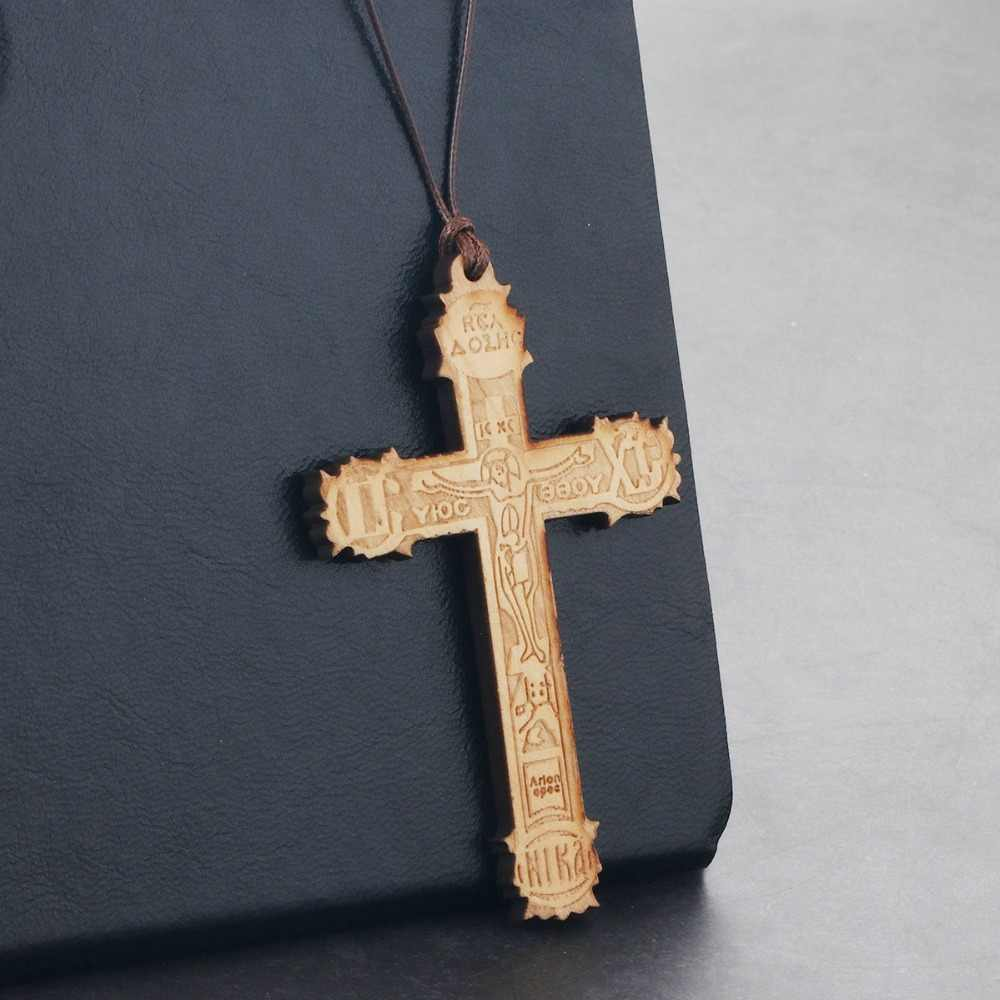 Large Wooden Religious Orthodox Cross Pendant Necklace Women Men Handmade Rope Chains Necklace Jewelry Father Gifts bijoux NC167