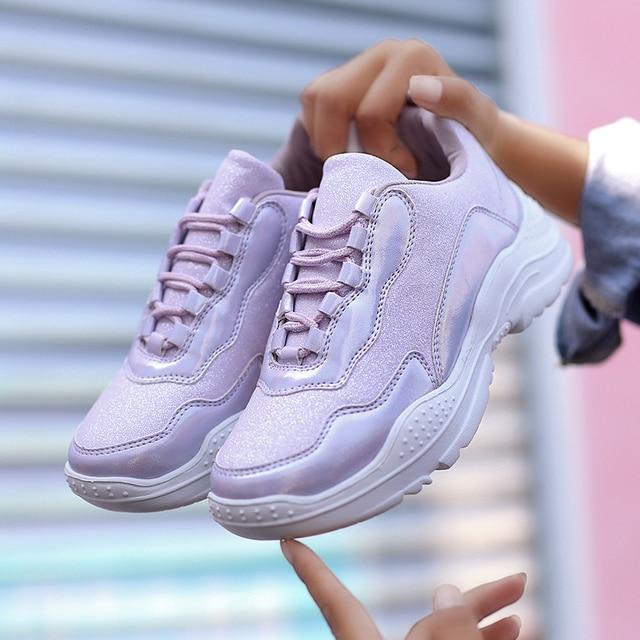 331aa86b8 Новая трендовая спортивная обувь для девочек на толстой подошве женские  кроссовки фиолетовый розовый беговые кроссовки Женская
