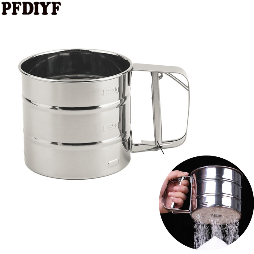 Stainless Steel Silver Net Sifting Strainer Cupulate Flour Mesh Sieve Flour Cake Baking Powdered Sugar Filter Mesh Kitchen tool