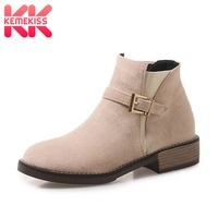 KemeKiss 4 Colors Women Ankle Boots Metal Buckle Shoes Woman Fur Winter Warm Short Boots Fashion Simple Ladies S Size 33 43