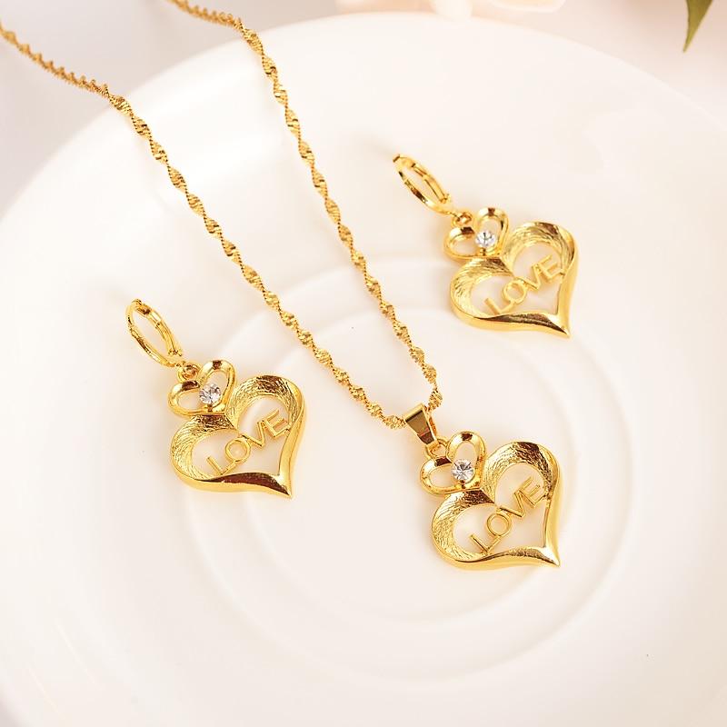 Gold crystal love heart family set Jewelry Pendant Chain Earrings African Dubai Bride Wedding women girls  Bijoux mother gift