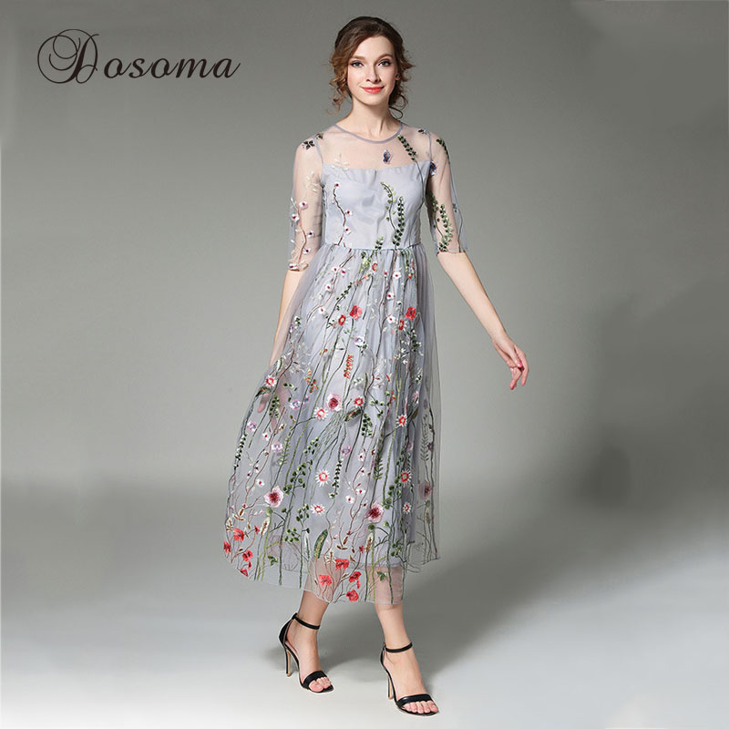 Floral embroidery mesh dress women summer flower
