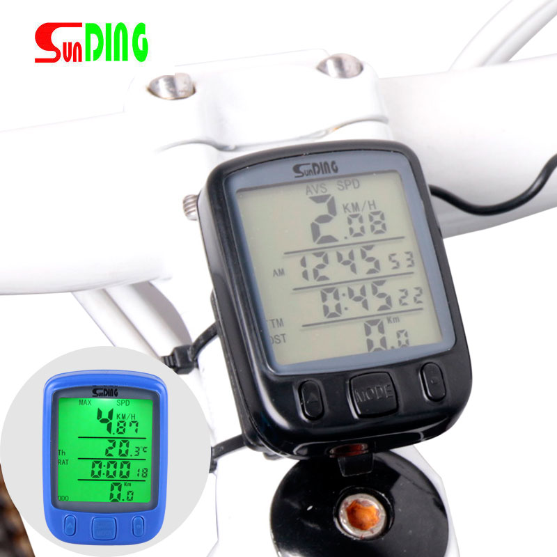 Bicycle Speedometer Wireless Computer Stopwach Water Proof Odometer LCD Screen Backlight Auto Clear Sunding SD-563C 53000459