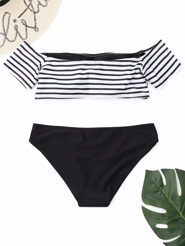 Off The Shoulder Stripe Padded Bikini Set