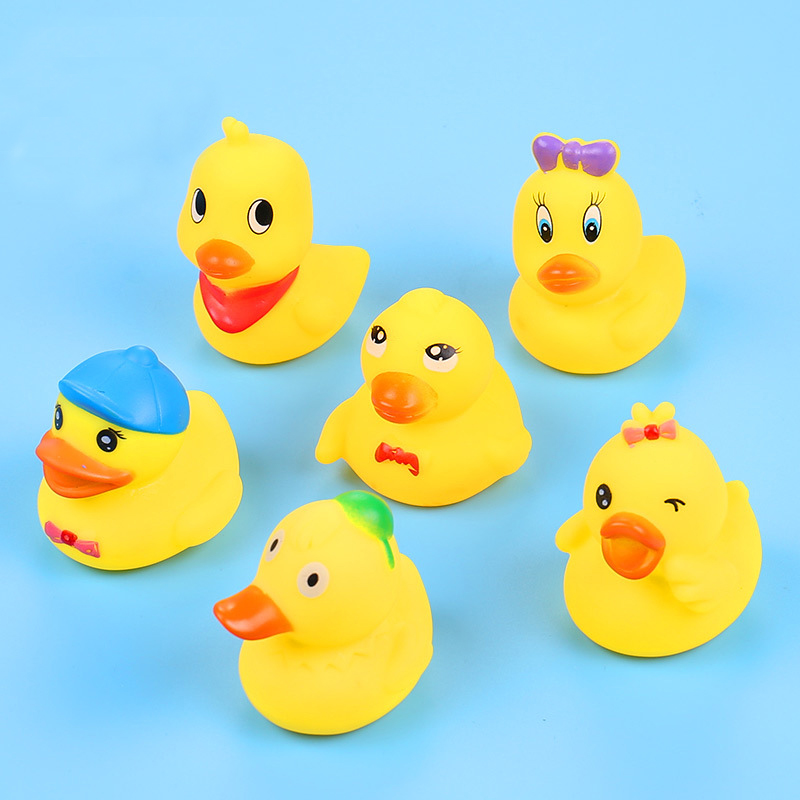 6pcs/lot Drink Float Water Swimming Child's Play Mouth Mini Small Yellow Rubber Duck Educational For Children Baby Bath Toys