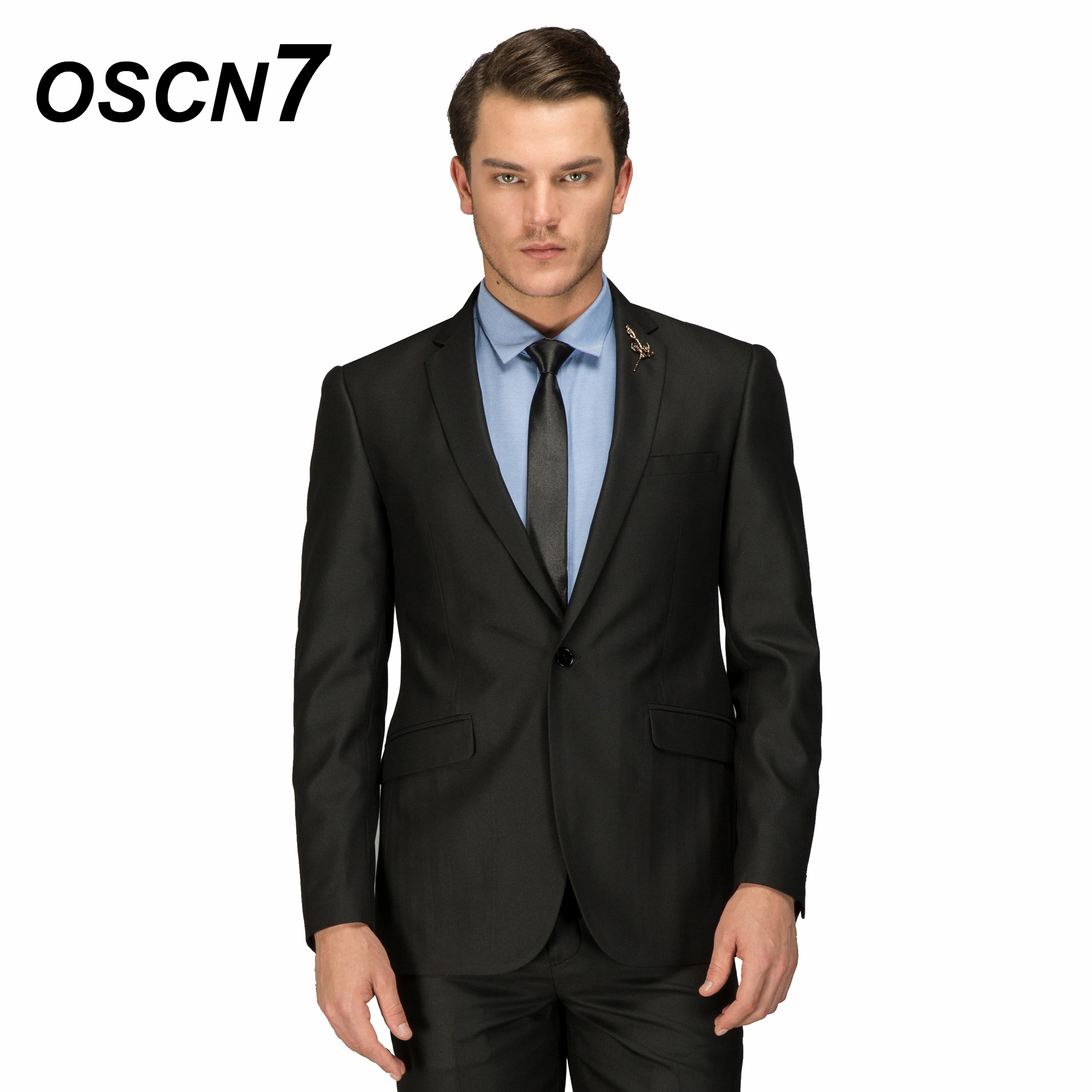 Dynamic Oscn7 Solid Black Tailor Made Suits Business Gentleman Classic Wool Suit Men 2pcs Leisure Costume Homme 158-2c11x