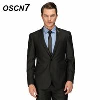 OSCN7 Solid Black Tailor Made Suits Business Gentleman Classic Wool Suit Men 2PCS Leisure Costume Homme 158 2C11X