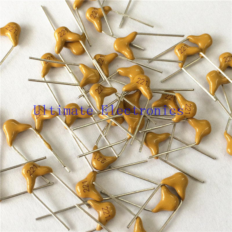 100pcs/lot  Multilayer Ceramic Capacitor 221 50V 220pF 221K P=5.08mm