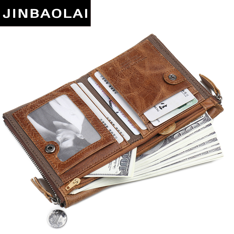 leather genuine wallet men double coin pocket zipper men wallets with credit card holder short male clutch slim wallet purse hot in Wallets from Luggage Bags