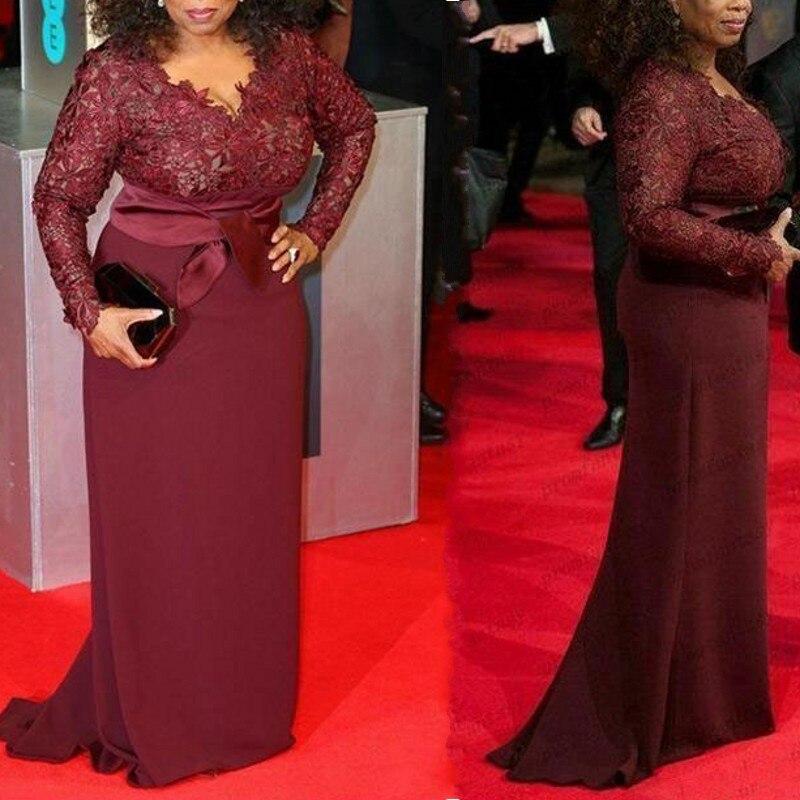 Bourgogne Rouge Appliques Picture Manches Longue Robes Formelle Soirée Pleine Color V Festa De Tapis Bal Neck 2019 Robe SpxrwnSZaI