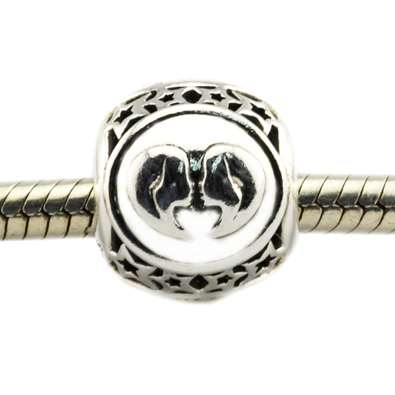 Fits For Pandora Bracelets Gemini Star Sign Charms 100% 925 Sterling Silver Beads Free Shipping