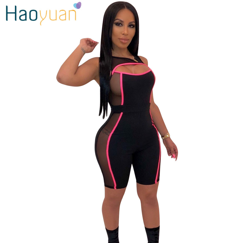 HAOYUAN Neon Stripe Mesh Patchwork Shorts Ompers Womens   Jumpsuit   Summer Sexy Costumes One Piece Black Overalls Bodycon Playsuits