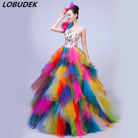 2019 New Adult Women Modern Dance Costume Colorful Embroidery Long Dress Celebration Performance Open Dancing Dresses Stage Wear