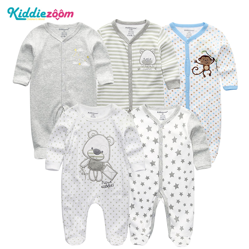 4/5Pcs/Lot Unisex Top Quality Baby Rompers Long Sleeve Cottom O Neck 3,6,9,12M Newborn Boys&Girls Roupas De Bebe Baby Clothes