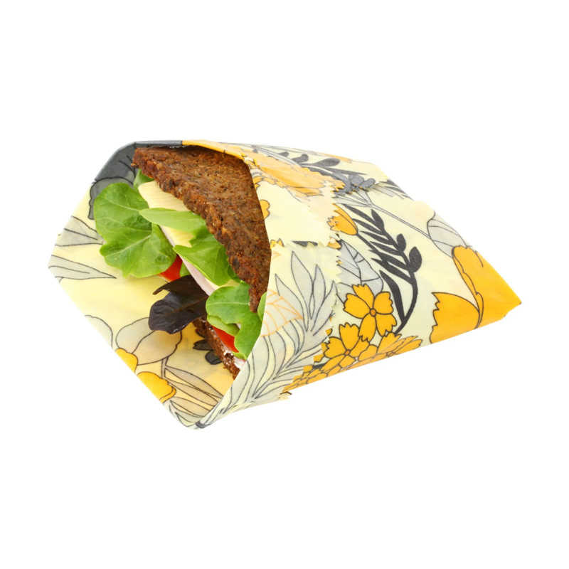 4Pcs Beeswax Food Wrap Organic Washable Zero Waste Sustainable Storage for Sandwich,Cheese,Fruit  Alternative to Plastic bags