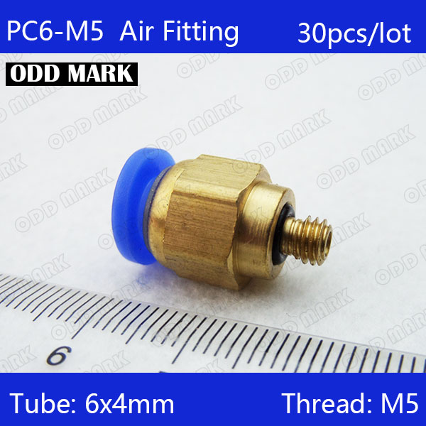 Free shipping high quality 30pcs 6mm to M5 Pneumatic Connectors male straight one-touch fittings PC6-M5 50x pc4 m5 male straight one touch pneumatic 4mm tube push in m5 quick connect fittings 4mm to m5 pneumatic connectors