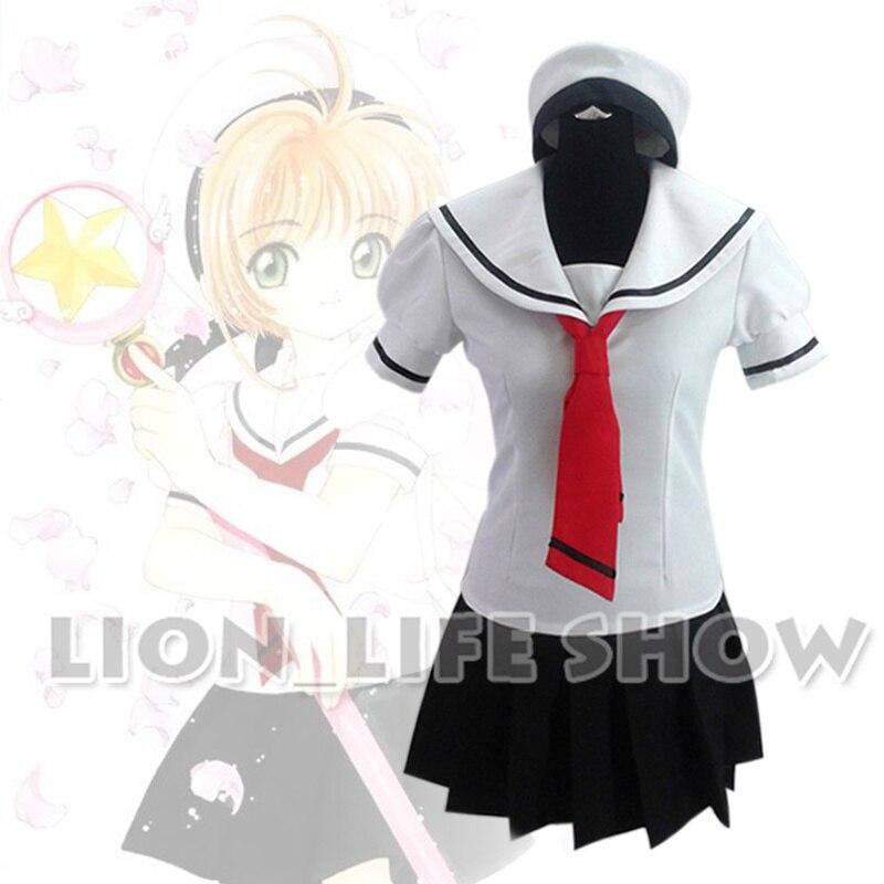 Customized Anime Cardcaptor Sakura Cosplay Costume Student Uniform Set+Cap Girls Sailor Suit Halloween Costume
