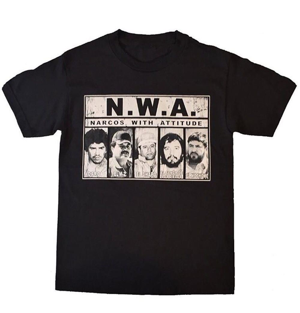 Free Shipping Mens N.W.A. Narcos With Attitude Caro El Chapo Mochomo Music T-Shirts Black