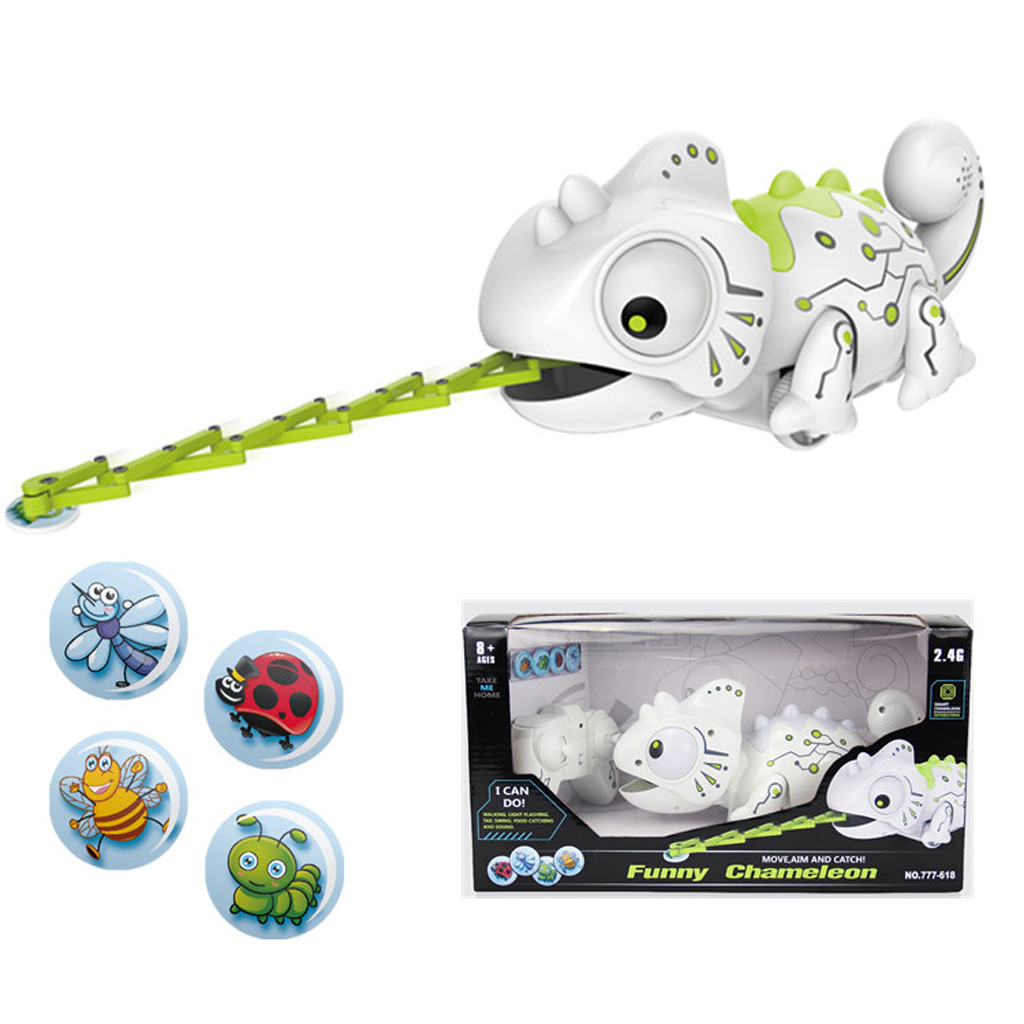 Remote Control Pets Smart Chameleon Robotic Can Eat Things Function Cute Toy Electronic Multicolor Plastic Chameleon Robot 2.4G