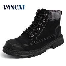 Купить с кэшбэком Vancat High Quality Genuine leather Men Boots Winter Ankle Boots Riding Boots Plush Warm Outdoor Working Snow Boots Men Shoes