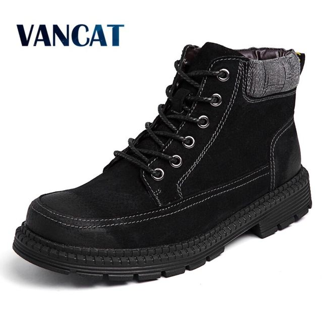 9756631b4 US $23.67 40% OFF|Vancat High Quality Genuine leather Men Boots Winter  Ankle Boots Riding Boots Plush Warm Outdoor Working Snow Boots Men Shoes-in  ...