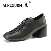 Aercourm A 2018 Woman Brand Shoes Female Genuine Leather Pumps Heels 6 CM Shoes Square Head