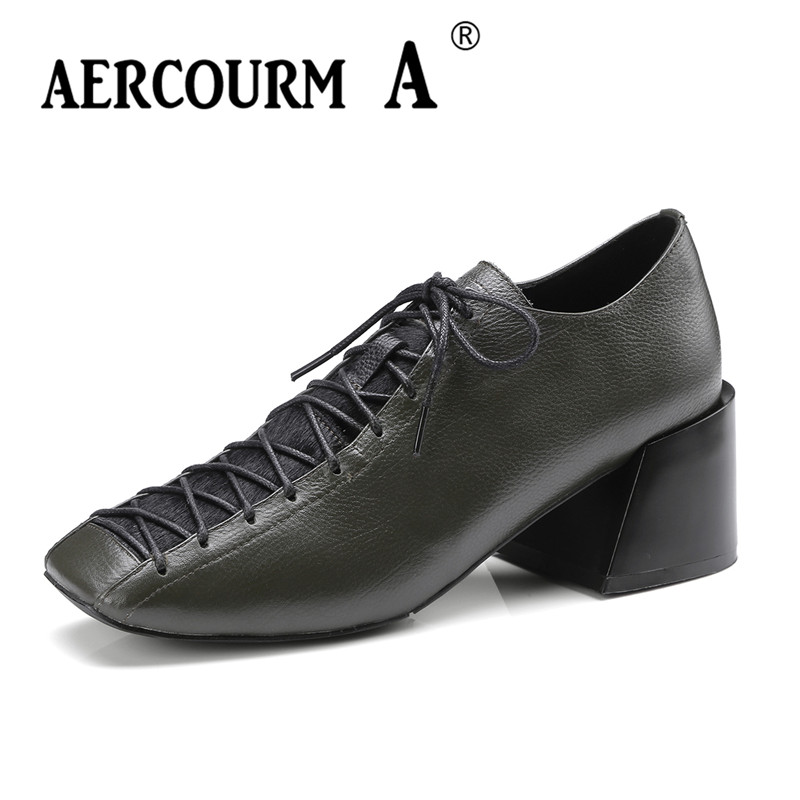 Aercourm A 2018 Woman Brand Shoes Female Genuine Leather Pumps Heels 6 CM Shoes Square Head Lace Black Green Cowhide Shoes 4812 aercourm a 2018 women black fashion shoes female bright genuine leather shoes pearl high heel pumps bow brand new shoes z333