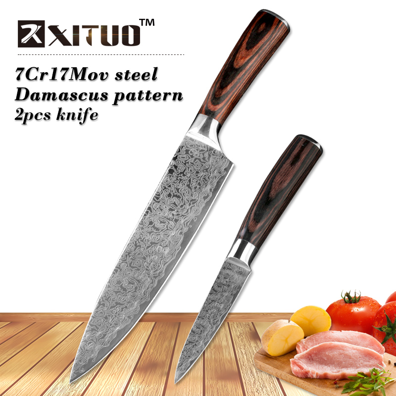XITUO 2 stks keukenmessen set Japanse Damascus staal Patroon koksmes sets Cleaver Peeling Zalm Snijden utility tool hout