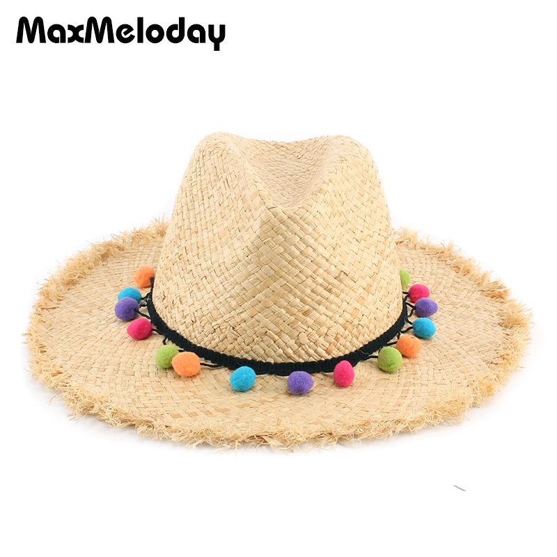 MaxMeloday Women 100% Raffia Straw Hat Foldable and Packable Breathable  Summer Hats Cap Women Straw Fadora Hats Floppy Beach Hat b58f6c7e379