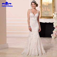 Luxury V-neck Lace Sexy Mermaid Wedding Dress 2017 Hot Sale Appliques Beaded Bridal Gown Vestidos De Novia