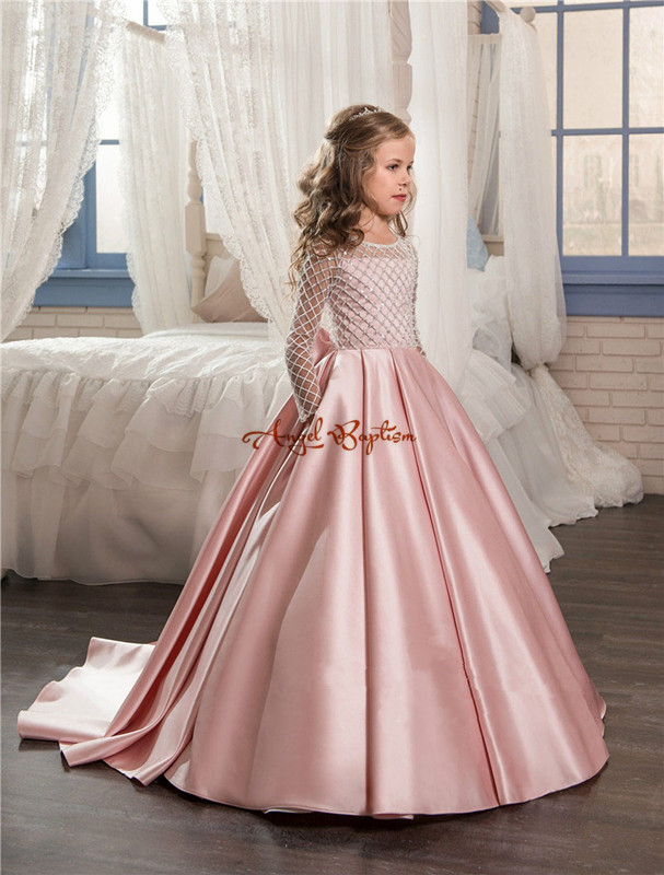 2018 Sweet pink satin flower girls dresses sheer mesh ruffled backless with train ball gown kids first communion gowns jenni new pink solid ruffled chemise l $39 5 dbfl