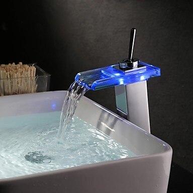 Цвет Изменение светодиодные воды Ванная комната раковины кран одно отверстие Одной ручкой, torneira Para де Banheiro modocomando