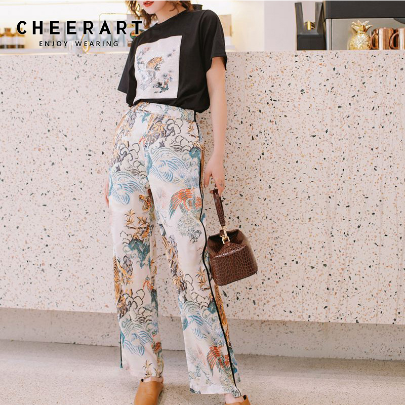 Cheerart 2 Piece Set Sequin Top And Pants Animal Tiger Print Summer Outfits For Women High Fashion Clothes Set 2019