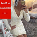 2016 New Free shippingCoctel Glamorous handmade Full  Pearl white Lace Cocktail Dresses Deep V neck short Prom Party dress
