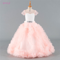 Pink 2018 Flower Girl Dresses For Weddings Ball Gown Cap Sleeves Tulle Crystals Ruffles First Communion