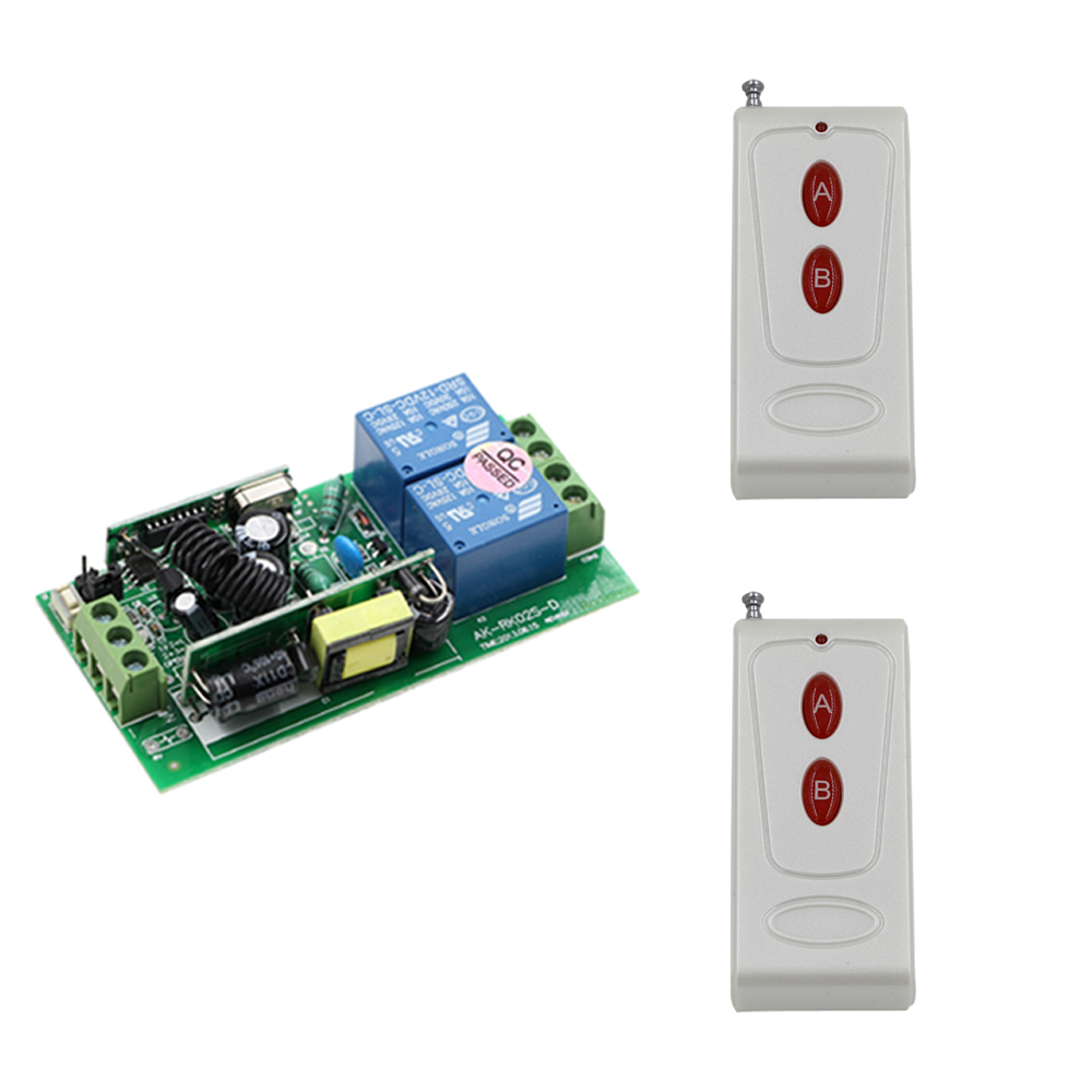 AC 85V-250V 2CH Learning Code Wide Voltage RF Wireless Remote Control Switch Receiver & Transmitter Smart Home Control System