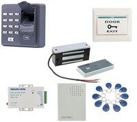 60kg 12v Wooden Gate Door Electric Magnetic Lock Fingerprint RFID Reader Door Access Control System Kit