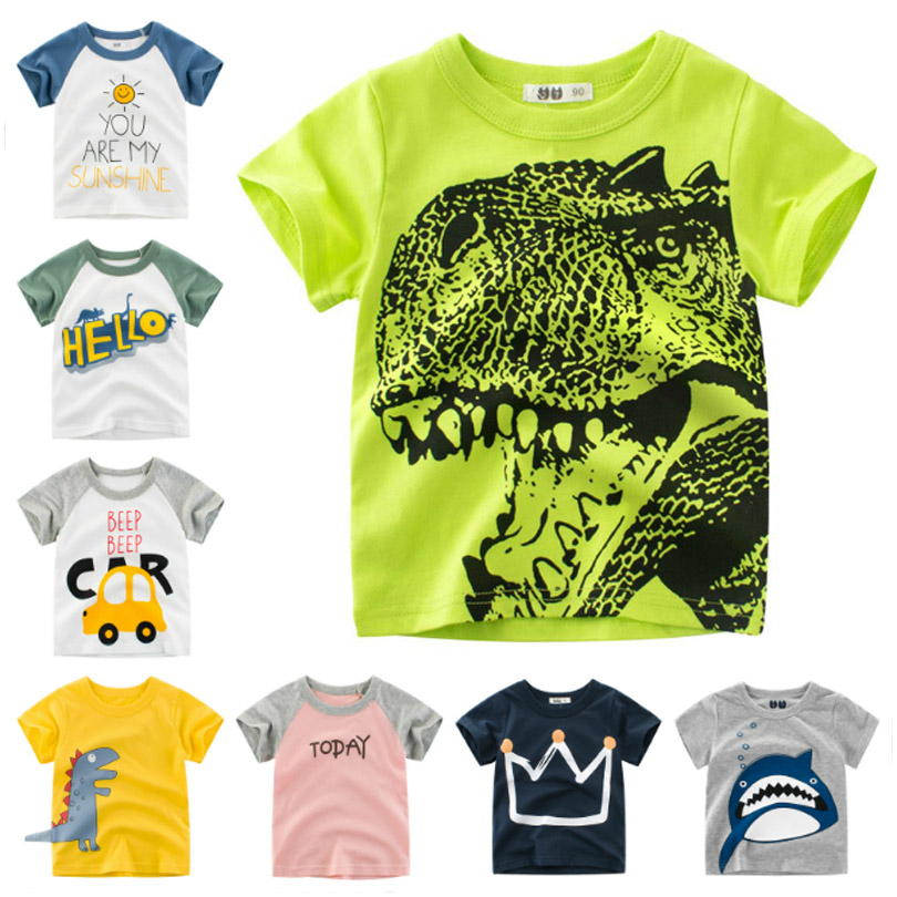 Cartoon Dinosaur T Shirt Boys 2020 Summer Children's Clothing Toddler Cotton Tops Tee Baby Boy Kids T-shirt 2-7Y